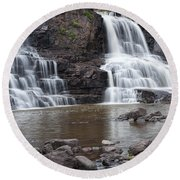 Photograph Of Lower Gooseberry Falls In Minnesota Round Beach Towel