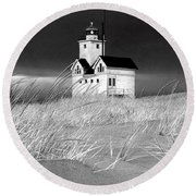Photograph Of The Lighthouse Big Red In Holland Michigan Round Beach Towel