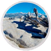 Photographer On Top Of Sentinel Dome In Yosemite Np-ca  Round Beach Towel