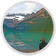 Photographers At Lake Louise In Banff National Park-ab Round Beach Towel