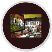 Photographer's Stand Us-mexico Border Town Nogales Sonora Mexico 2003 Round Beach Towel