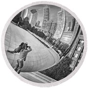 Photographing The Bean - Cloud Gate - Chicago Round Beach Towel