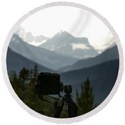 Photographing The Tonquin Valley Round Beach Towel