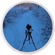 Photography In The Winter Round Beach Towel
