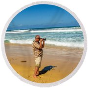 Photorgapher Near The Ocean Round Beach Towel
