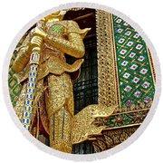 Phra Mondhop At Thai Pagoda At Grand Palace Of Thailand In Bangkok  Round Beach Towel