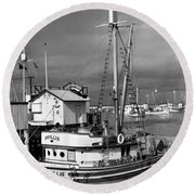 Phyllis Purse-seiner Monterey Wharf California  Circa 1940 Round Beach Towel
