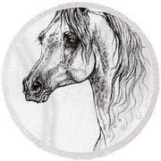 Piaff Polish Arabian Horse Drawing 1 Round Beach Towel
