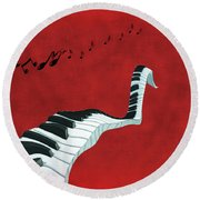 Piano Fun - S01at01 Round Beach Towel by Variance Collections