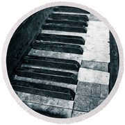 Piano Keys Round Beach Towel