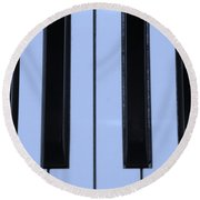 Piano Keys In Cyan Round Beach Towel