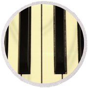 Piano Keys In Sepia Round Beach Towel