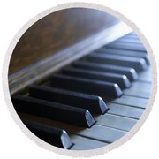 Piano Keys Round Beach Towel by Jon Neidert