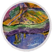 Piano Purple Round Beach Towel