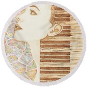 Piano Spirit Original Coffee And Watercolors Series Round Beach Towel