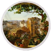 Piazza Barberini In Rome Round Beach Towel
