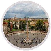 Piazza Del Popolo - Impressions Of Rome Round Beach Towel