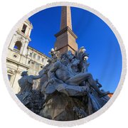 Piazza Navona Fountain Round Beach Towel
