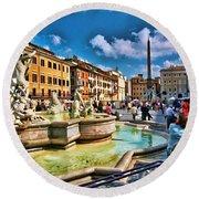 Piazza Navona - Rome Round Beach Towel