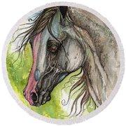 Piber Polish Arabian Horse Watercolor Painting 3 Round Beach Towel