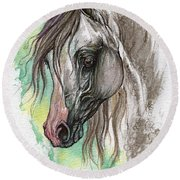 Piber Polish Arabian Horse Watercolor Painting Round Beach Towel