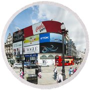 Picadilly Circus London Round Beach Towel