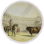 Picador Challenging The Bull, 1865 Round Beach Towel