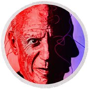 Picasso In Light Sketch 2 Round Beach Towel
