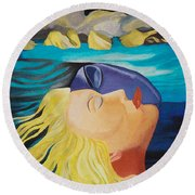 Picasso Inspired Hand Embroidery Round Beach Towel