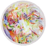 Picasso Pablo Watercolor Portrait.2 Round Beach Towel