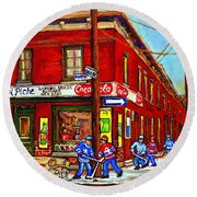 Piche's Grocery Store Bridge Street And Forfar Goosevillage Montreal Memories By Carole Spandau Round Beach Towel