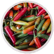 Pick A Peck Of Peppers Round Beach Towel