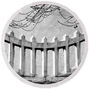 Picket Moon - Fence - Wall Round Beach Towel