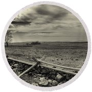 Picketts Charge The Angle Black And White Round Beach Towel