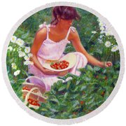 Picking Strawberries Round Beach Towel