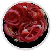 Pickled Red Onions Round Beach Towel