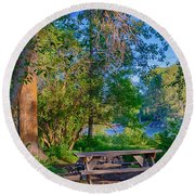 Picnic By The Methow River Round Beach Towel