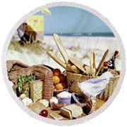 Picnic Display On The Beach Round Beach Towel