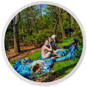 Picnic In The Nude Round Beach Towel