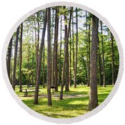 Picnic In The Pines Round Beach Towel