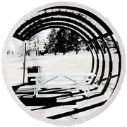 Picnic Table And Gazebo Round Beach Towel