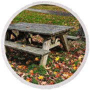 Picnic Table In Autumn Round Beach Towel