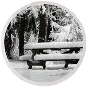 Picnic Table In The Snow Round Beach Towel