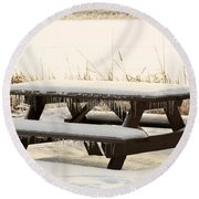 Picnic Table In Winter Round Beach Towel