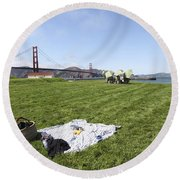 Picnicking At Golden Gate Park Round Beach Towel