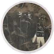 Pictograph 3 Round Beach Towel