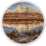 Picturesque Blue Canyon Formations Round Beach Towel