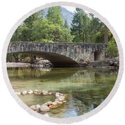 Picturesque Bridge In Yosemite Valley Round Beach Towel