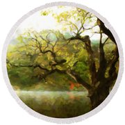 Picturesque Foggy Lake Round Beach Towel