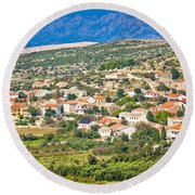 Picturesque Mediterranean Island Village Of Kolan Round Beach Towel